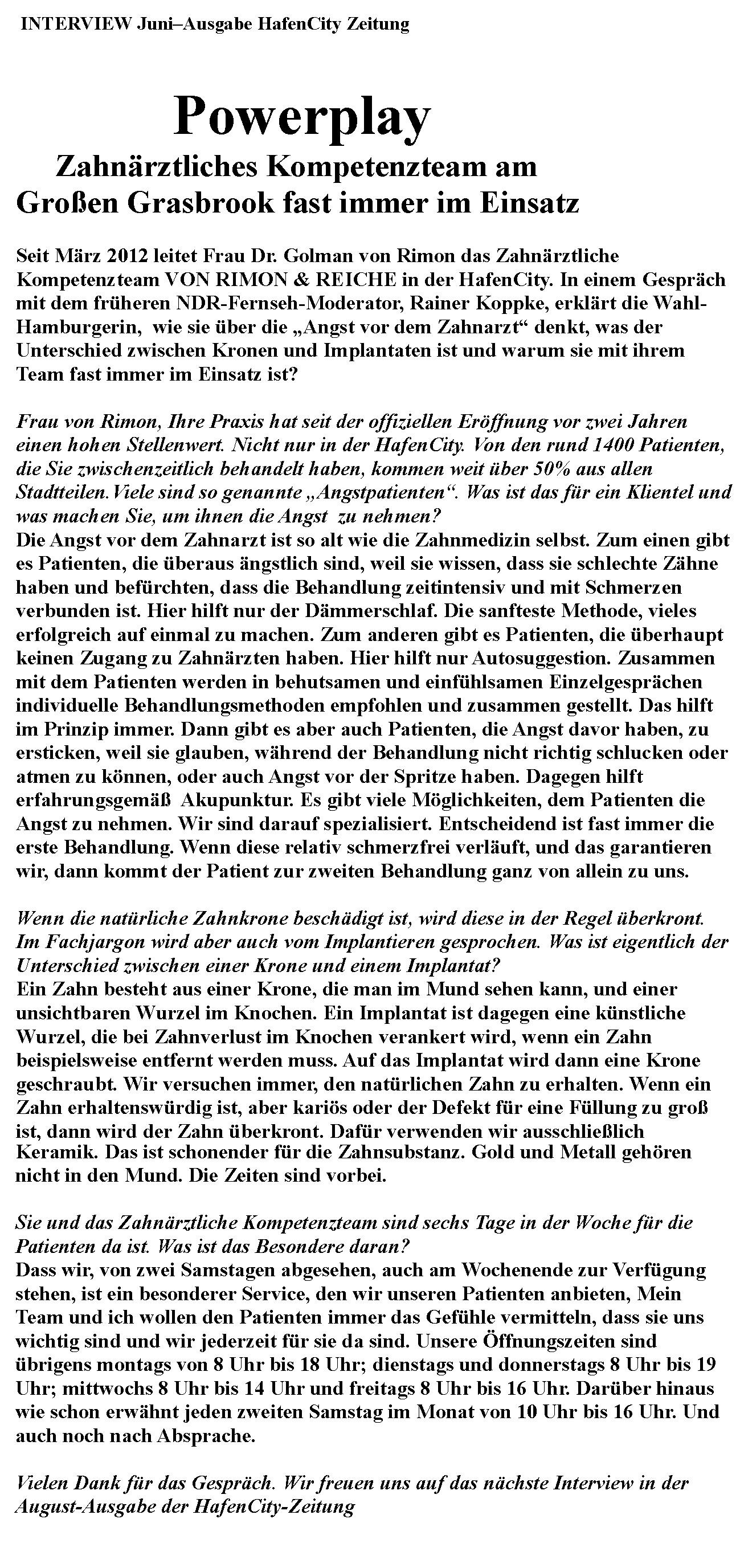 Interview Juni-Ausgabe Hafen City Zeitung