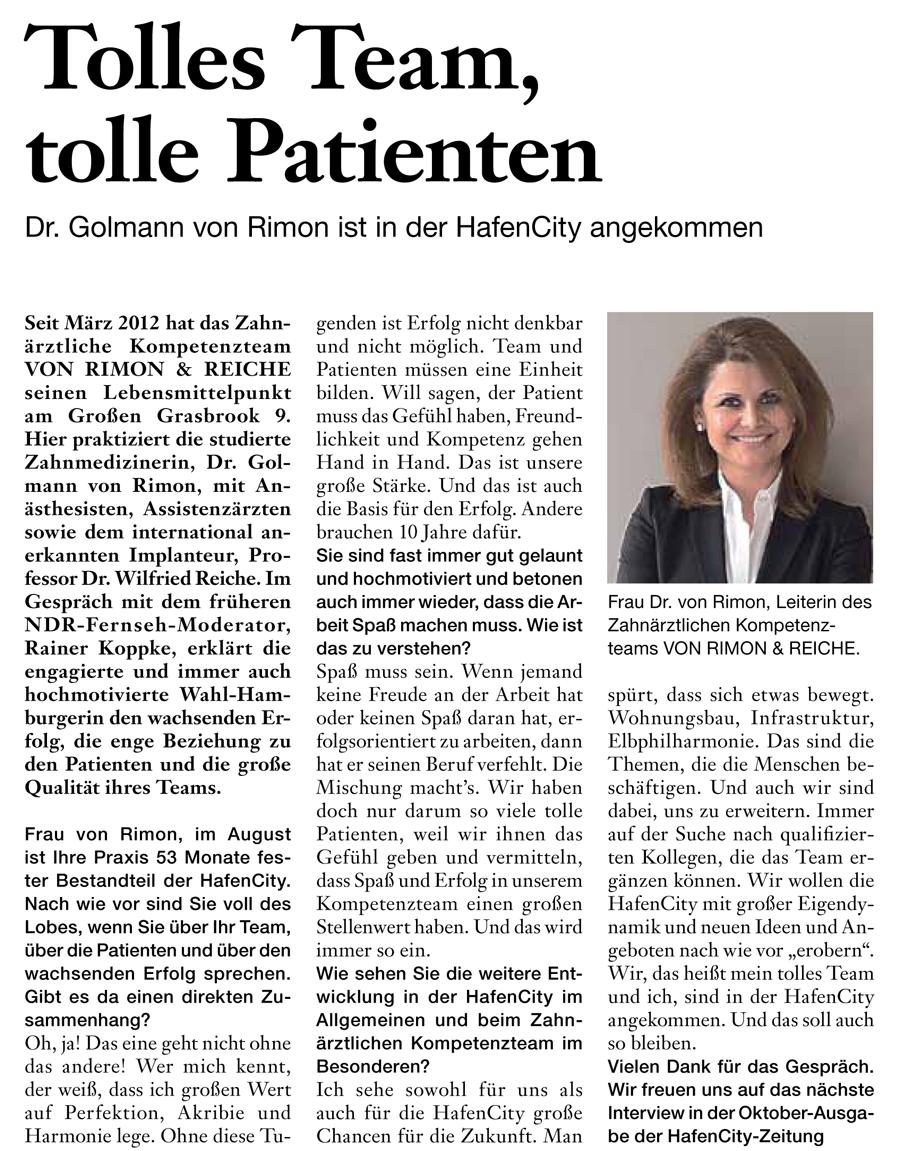 Hafencity Zeitung: Tolles Team, tolle Patienten